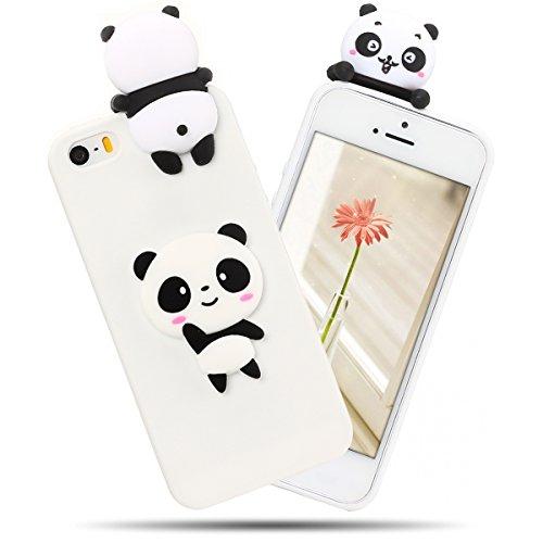Cover iPhone 5S Spiritsun Case iPhone 5 Custodia iPhone SE Moda Ultraslim Soft TPU Case 3D Diy Handy Kawaii Cover High Quality Case Elegante Souple Flessibile Liscio Copertura Perfetta Protezione Shel Panda Bianca