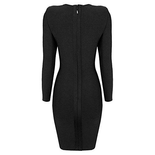 HLBandage Women's Sexy Sweetheart Neckline Long Sleeve Bodycon Bandage Dress Noir