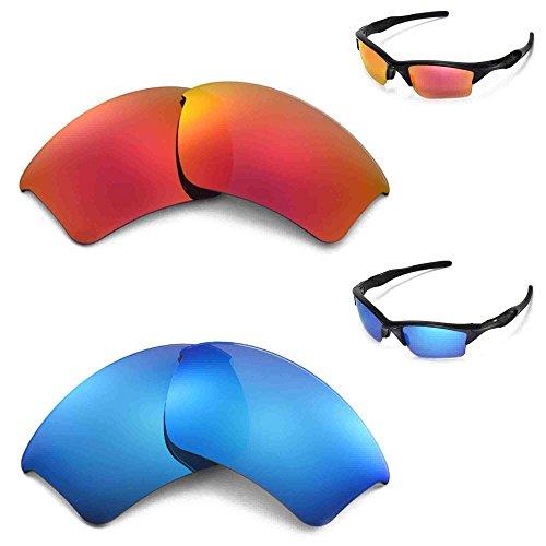 Walleva Polarisierte Eisblau + Fire Red Gläser für Oakley Half Jacket 2.0 XL