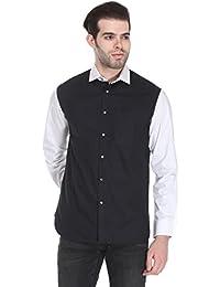 Reevolution Men's Black & White Cotton Poplin Shirt (MPFS310269)