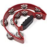 Tambourine - Double Half Moon (Red) by Tone Deaf Music. Hand Percussion Shaker