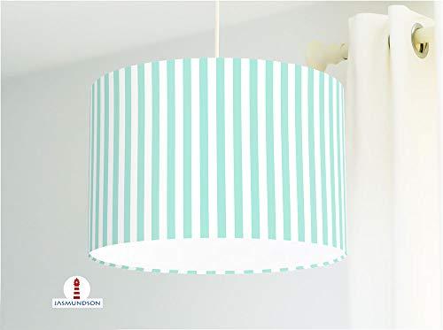 Lampe für Bad und Küche mit Streifen in Mint aus Baumwollstoff - andere Farben möglich