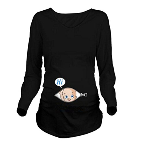 Yying Mutterschaft Lang Arm T-Shirt Lässige Umstandsmode Schwarz M (Mutterschaft Shirt)