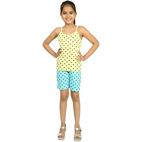 MINNOW Girl's Cotton Heartin Printed Shorts(Navy;Grey Melange;Aqua;Light Red;14-15 Years) - Pack of 4