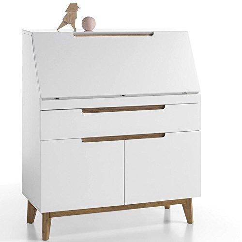 Sekretär Cervo Schreibtisch Kommode in weiß matt lackiert und Asteiche - Schrank Schreibtisch Weiß