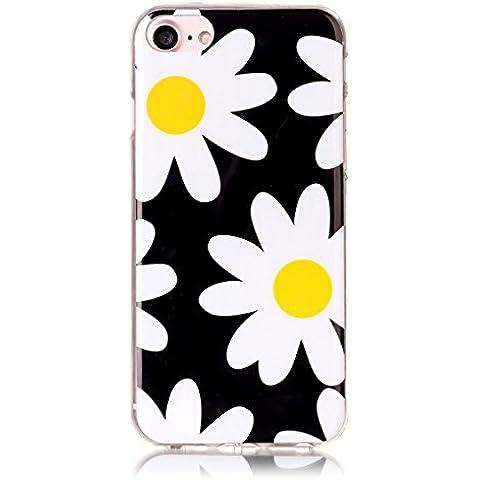 Cover per iPhone 7 Silicone Morbido, Moonmini® Custodia Gomma Morbida Ultra Sottile Scocca Gommosa Ultraslim Soft TPU Gel - White Yellow Daisy Flower in Black