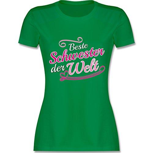 Shirtracer Schwester & Tante - Beste Schwester der Welt - Damen T-Shirt Rundhals Grün