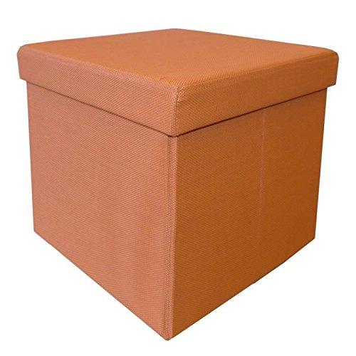 Pouf coffre pliable 2 en 1 Orange