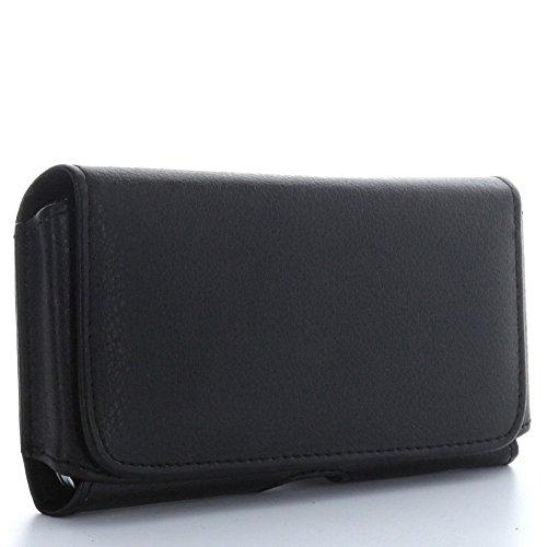 Quertasche Handyhülle mit Stahlclip - Größe 3XL- Handytasche 1.2 passend für BQ Aquaris X5 Plus - Huawei P9 / P10 Lite - Microsoft Lumia 650 950 Iphone 3g Leder-holster
