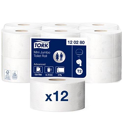 Tork 120280 Mini Jumbo Toilettenpapier in Advanced Qualität für das Tork T2 Mini Jumbo Toilettenpapiersystem / Toilettenpapier 2-lagig in Weiß, 12 x 850 Blatt - Wc-papier 3-lagige