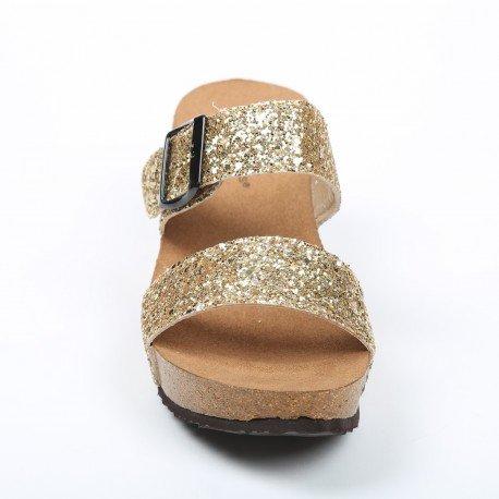 Ideal Shoes - Nu-pieds compensés et pailletés Madelina Doree