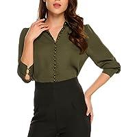 Zeagoo Women's Chiffon Long Sleeve Tunic Button Down Formal Shirt Blouse Tops,Army Green,L
