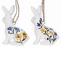 Un coniglietto di Pasqua in ceramica dipinto con un design country folk. Uno in dotazione. 7 cm.