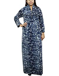 ac29d0ab1c Indiatrendzs Women Woolen Maxi Dress Printed Warm Blue Nightwear Nighty L