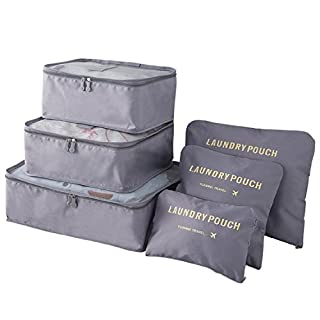 AllRight Packing Cubes Set - 6 X Travel Luggage Organizer Bag Pouch Waterproof Shoes Toiletry Storage Compression Pouches Gray