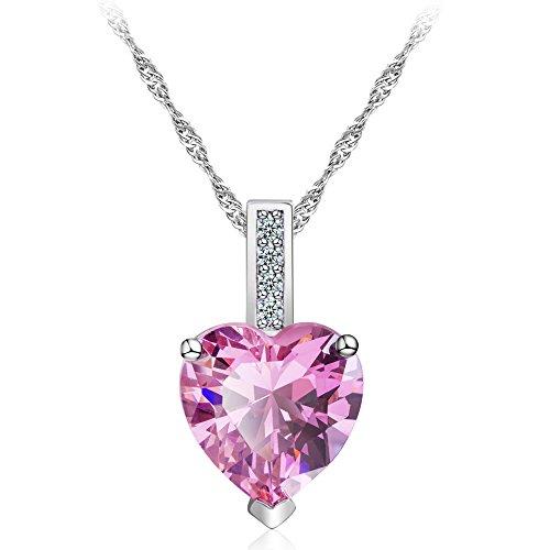 CJbrother Halskette Damen Kette mit Herz Anhänger 925 Silber 5A Zirkonia Schmuck 45CM Kettenlänge Geschenk -