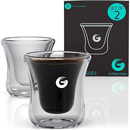 Coffee Gator ? Schwebende Espresso- bzw. Schnapsgläser ? Mundgeblasen, Thermoglas ? 80 ml 2er-Packung