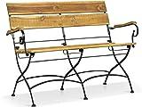 LANTERFANT - Gartenbank Hans, Klappbar, Stahl Rahmen, Akazien Holz, Zwei Personen, Teakfarbe, Schwarz, Braun