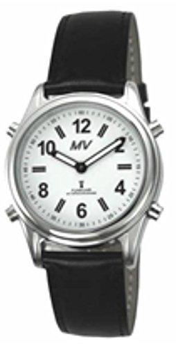 sprechende analoge Damen-Funkuhr Armbanduhr Blindenuhr Lederarmband 1138L 35mm