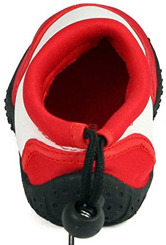 Sleedy® Enfants surfent chaussures Plage chaussures bottillons chaussures unisexes Aqua en différentes tailles 22-28 rouge-blanc