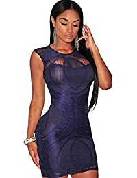 9c46a18d4eb93 Sapphire Optical Lace Nude Illusion Sleeveless Bodycon Dress Size 10-12