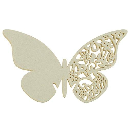 MagiDeal 50 Stück Geschnitten Schmetterlings Hochzeits Empfang Sitztisch Tassen Platzkarten