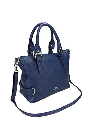 Softe echt Leder Tasche von TONI&FRIENDS® mit Schlüsselfinder und Intercede, Reißverschlusstasche innen und Steckfächern, ca. 28x24x15cm (marine)