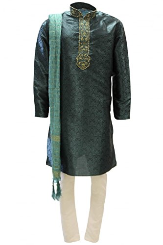 Krishna Sarees Krishna Sarees MKP9003 Grün und Gold Men's Kurta Pyjama Indian Suit Bollywood Sherwani (Chest 38 inches)