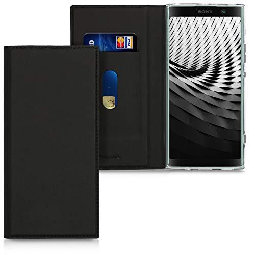 kwmobile Sony Xperia XA2 Plus Hülle - Kunstleder Handy Schutzhülle - Flip Cover Case für Sony Xperia XA2 Plus