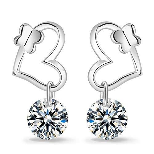Ohrringe Frauen AAA Ohrringe Kristall Schmetterling Nagel Ohren Schmuck Silber süßes Mädchen Ohr Schmuck