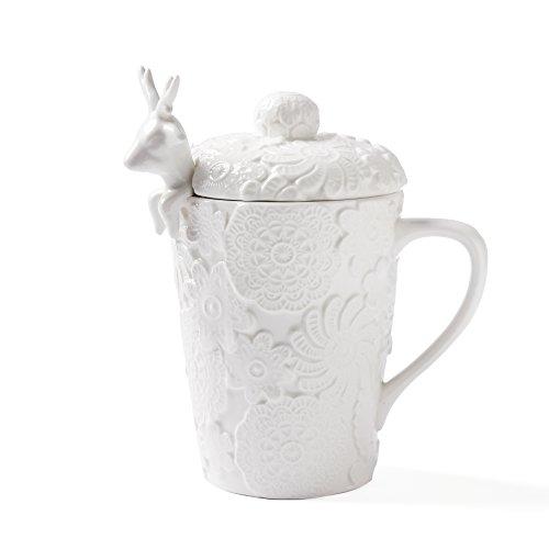 ufengke® Bezaubernd Geschnitzt Spitze Weihnachten Elch Keramik Becher Mit Deckel , B