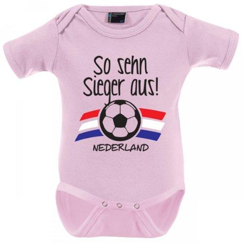 Mikalino Babybody So sehn Sieger aus - Niederlande - Nederland kurzarm, Grösse:62;Farbe:rosa