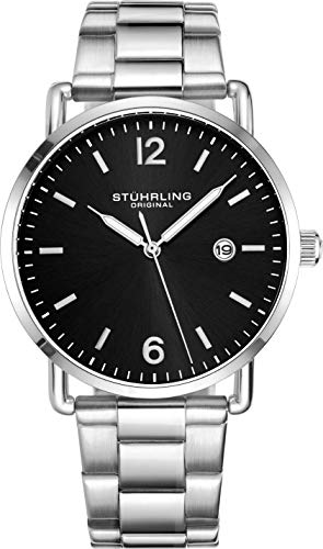 Stuhrling Original Mens Watch Leather or Bracelet Watch Band Silver Dial with Date Minimalist Style 38mm Case - 3901 Watches for Men Collection (Stainless Steel/Black)