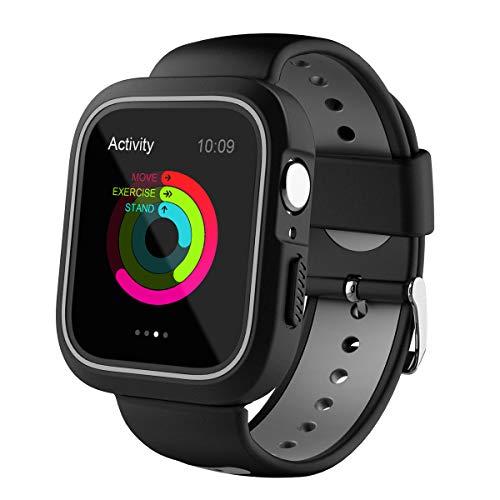 Preisvergleich Produktbild NICERIO Kompatibel mit Apple Watch 4,  stoßfestes Uhrengehäuse mit Belüftungsband-Rahmenschutz für Apple Watch 44 mm (Schwarz und Grau)