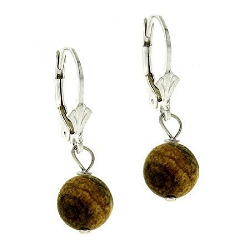 Sterling Silver 8mm Genuine Desert Jasper Stone Bead Beaded Dangle LeverBack Lever Back Earrings