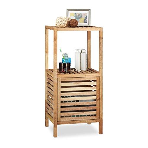 Relaxdays 10021084_348 scaffale da bagno con anta e 3 ripiani, legno, marroncino, 36x40x86 cm
