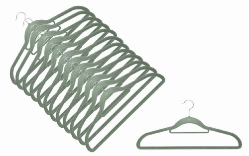 Magic Bügel (12 x Raumspar- und Anti-Rutsch Magic Kleiderbügel Smart in SILBER-GRAU)