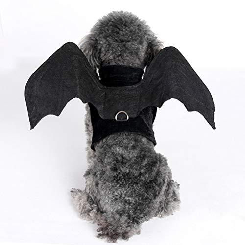 POPETPOP Halloween Hund Kostüme Hundegeschirr Outfits Fledermausflügel Hund Cosplay Kleidung für kleine Hunde Katzen - Größe M