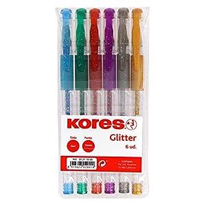 Grafoplás- Kores. 30211999. Pack de 6 Bolígrafos de Tinta Gel Glitter, BG4, Punta 1mm, Colores Surtidos