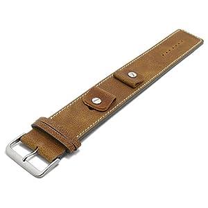 Meyhofer Uhrband Gotha 14-16-18-20mm Hellbraun Leder Antik-Look helle Naht Unterlagenband MyFcslb360/14-20mm/hbraun/hN
