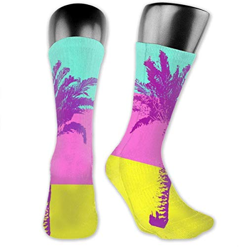 YudoHong Palm Tree Unisex Casual Crew Socks Daily Sports Socks Yellow Socks