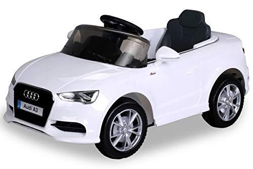 Kinder Elektroauto Lizenzierter Audi A3 mit 2 x 35 Watt Motor Original Elektro Kinderauto Kinderfahrzeug (weiß)