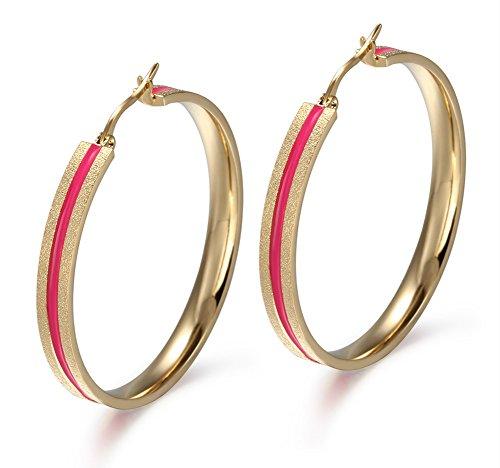 Un par de acero inoxidable de joyería MG oro y línea roja grande del aro del pendiente de clip para mujeres, 5 mm de ancho