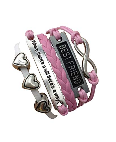 Imagen de strass & paillettes pulsera best friend rosa 3 corazones. citación y enlace infinito plateado. mejor amiga