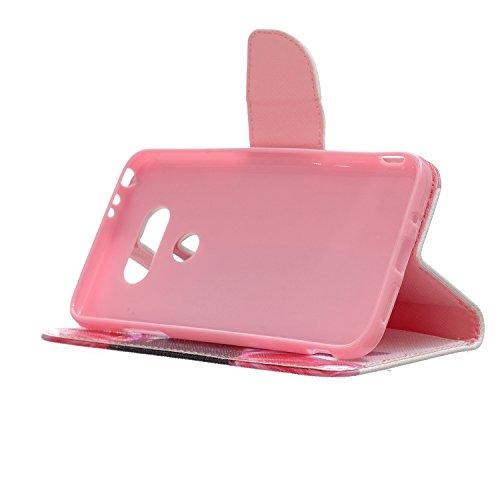 Custodia LG G5, LG G5 Flip Cover - ISAKEN Elegante borsa Custodia in Pelle Protettiva Flip Portafoglio Case Cover per LG G5 / con Supporto di Stand / Carte Slot / Chiusura Magnetica - piuma uccellini sunflower