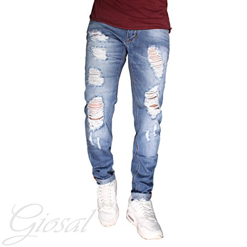 Pantalone Uomo Jeans Rotture Denim Cavallo Basso Zip Cinque Tasche