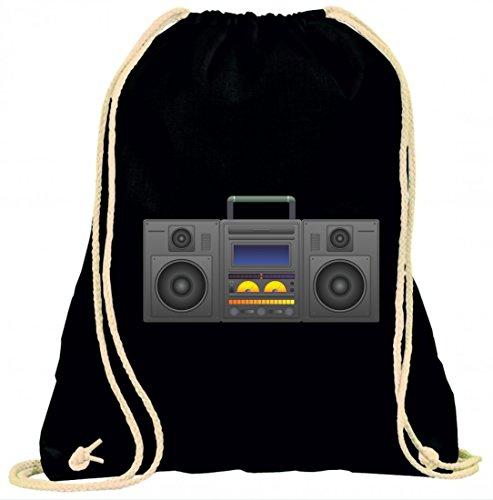 """Turnbeutel """"BOOMBOX- GHETTO BLASTER- AUDIO PLAYER- CD SPIELER- MUSIK PLAYER- RADIO- BLÄSER- STEREO- GHETTO- MUSIK- BOX- RETRO"""" mit Kordel - 100% Baumwolle- Gymbag- Rucksack- Sportbeutel"""