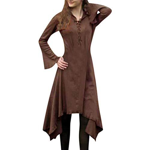 Mittelalter Kostüm Gothic Mittelalter Kleid Schnürung Mittelalterliches Women Lange Ärmel Renaissance-Kleid Piebo Damen Kleidung Maxi Kleid Abend Trompetenärmel Langarm Unregelmäßiger Saum (Renaissance Damen Zigeuner Kostüm)