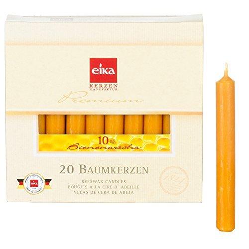Eika 10262710 Baumkerzen 10% Bienenwachs, 20er Packung, 10cm x 1,25cm