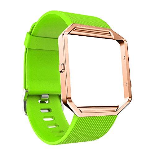 TianranRT Silikon Armband Mit Rose Silikon Armband Watch Band Handgelenk Armband Mit Metall Rahmen Für Fitbit Blaze HOT (Grün)